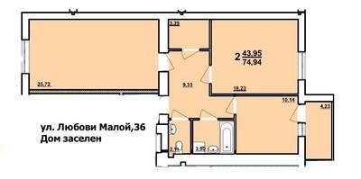 2 комнатная квартира новострой Харьков