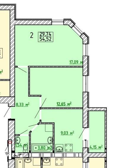 Продам квартиру 54 кв.м. в новостройке на пр. Московском,131