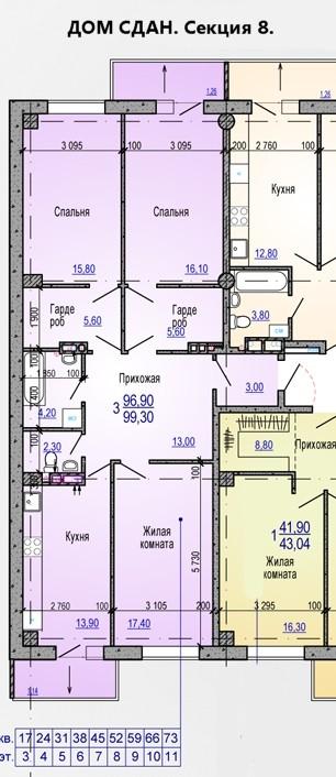 3 комнатная квартира 99 кв.м. в ЖК Меридиан