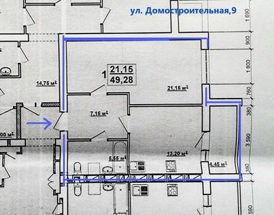 1 ком. квартира ул. Домостроительная (на схеме дом 3)