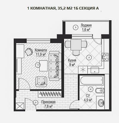 ЖК Металлист 1 комн. квартира 35 кв.м.