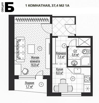 ЖК Металлист 1 комн. квартира 34 кв.м.