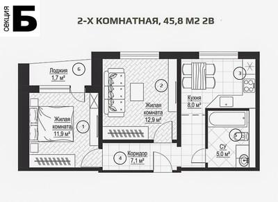 Квартира в ЖК Металлист, секция Б, 45 кв.м.