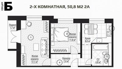 2 комнатная квартира в ЖК Металлист, секция Б
