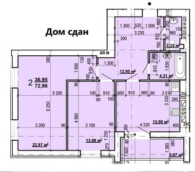 2 комнатная квартира в ЖК Мира 2