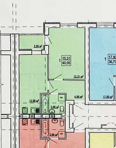 1 комнатная квартира ЖК Гидропарк