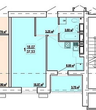 "ЖК ""Гидропарк"" 1 комн. квартира 37 кв.м."