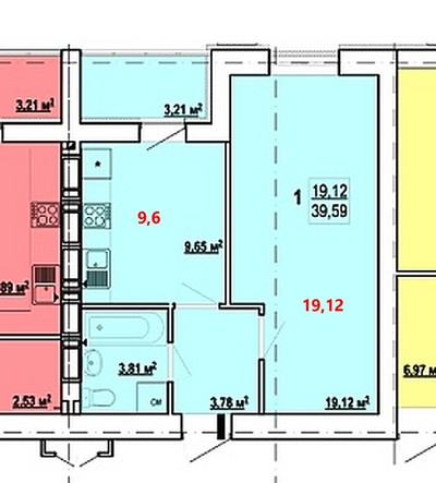 "ЖК ""Гидропарк"" 1 комн. квартира 39 кв.м."