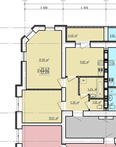 2 комнатная квартира ЖК Левада 2