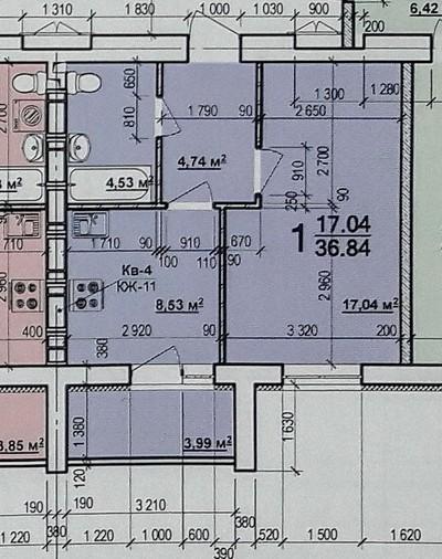 1 комнатная квартира 36 кв.м.