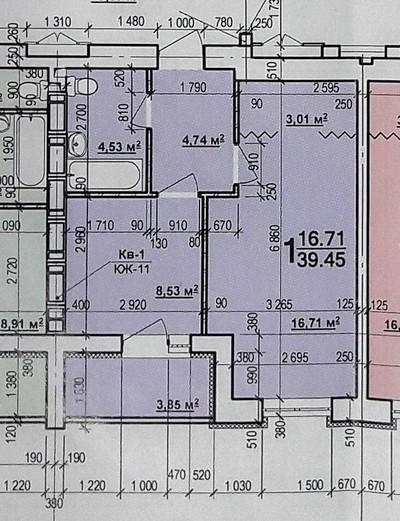 1 комнатная квартира 39 кв.м.