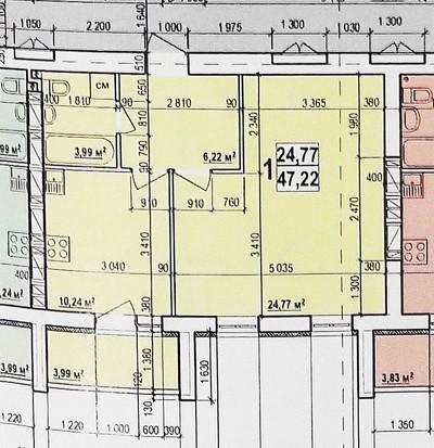 1 комнатная квартира 47 кв.м.