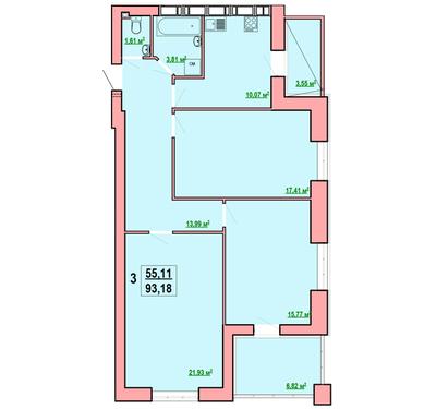 3 комнатная квартира ЖК Левада