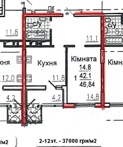 ЖК Авиационный, 1 комнатная квартира