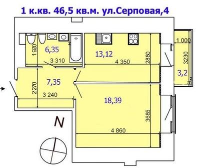 1 комнатная квартира в новострое на ул.Серповая,4
