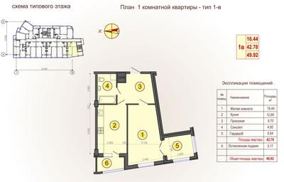1 комнатная квартира в ЖК «Флагман»